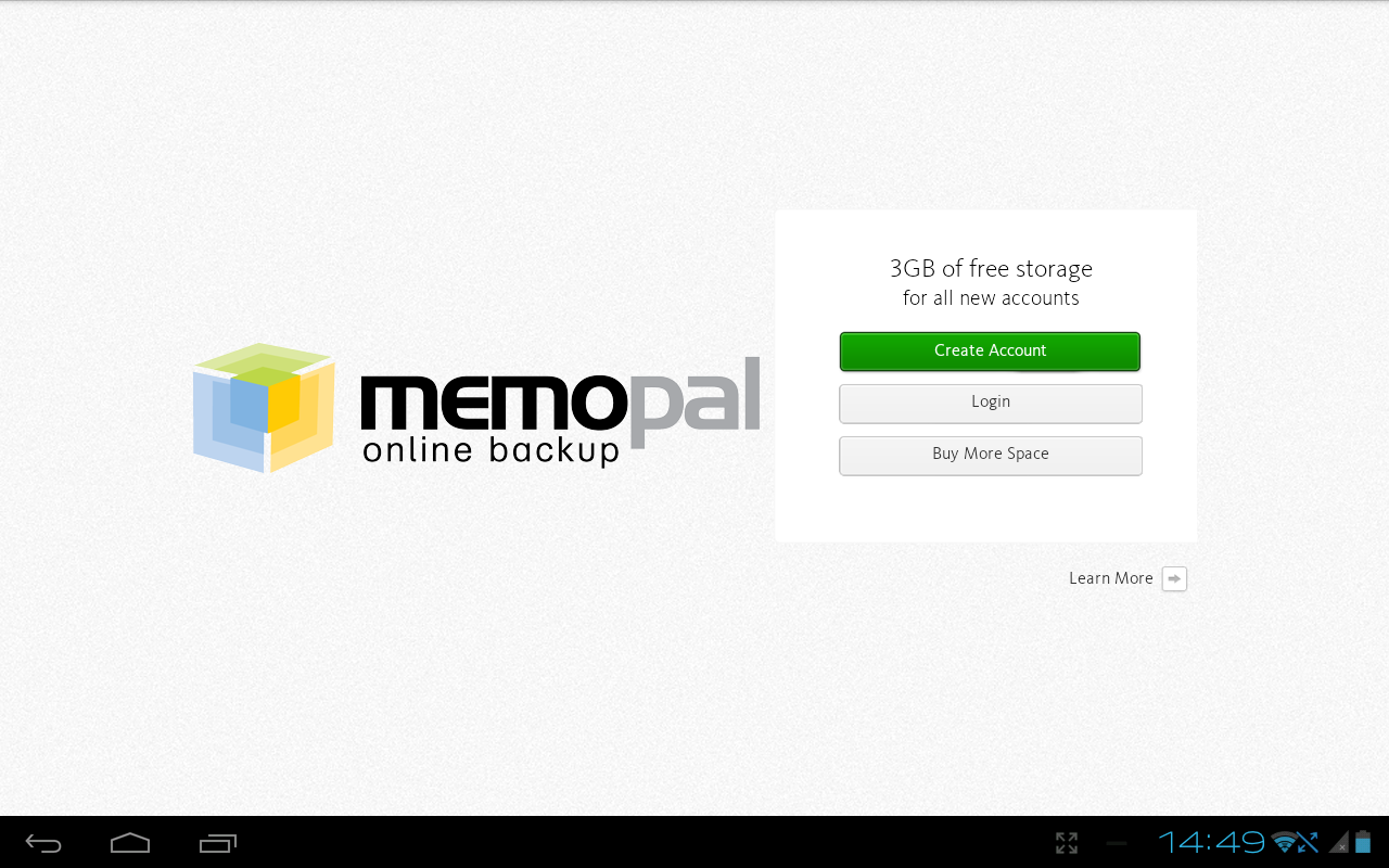 Memopal online backup Tablet - screenshot