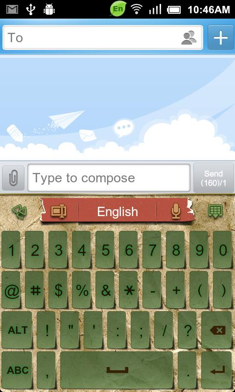 GO Keyboard Kraft Paper theme - screenshot