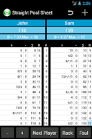 Screenshot of Straight Pool Sheet