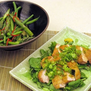 Crispy Chicken With Ponzu, Asparagus And Baby Beans