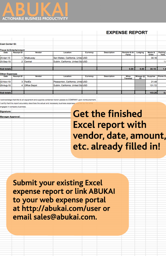 Expense Reports, Receipts with ABUKAI Expenses- screenshot