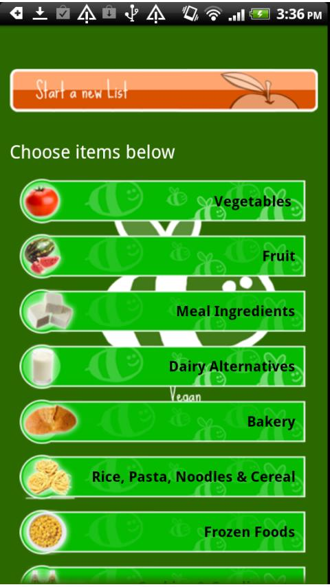 Vegan Shopping List - screenshot