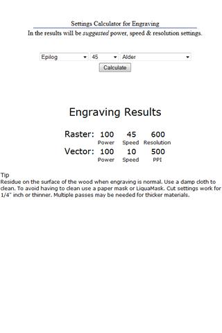Laser Engraving Calculator- screenshot