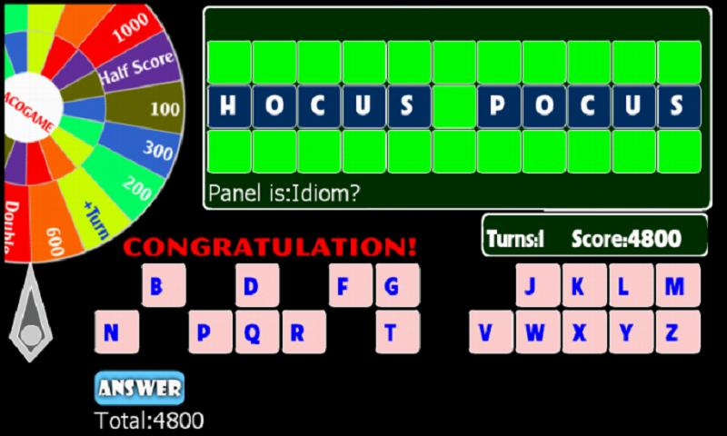 Wheel of words - screenshot
