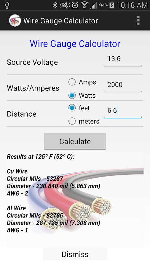 What is the formula for calculating cable size?