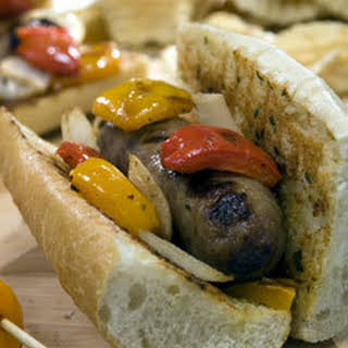 Sausage & Peppers Subs With Creamy Italian Spread.