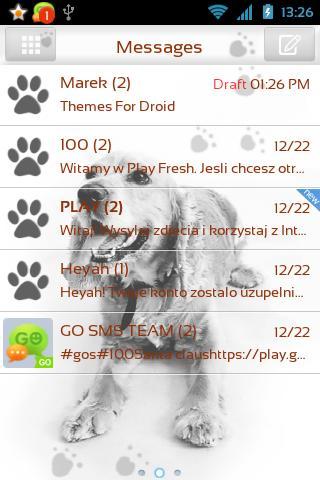 GO SMS Pro可愛的小狗的主題