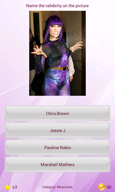 Celebrity quiz - screenshot