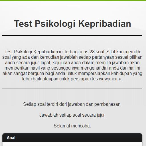 Tes Psikologi Kepribadian - screenshot
