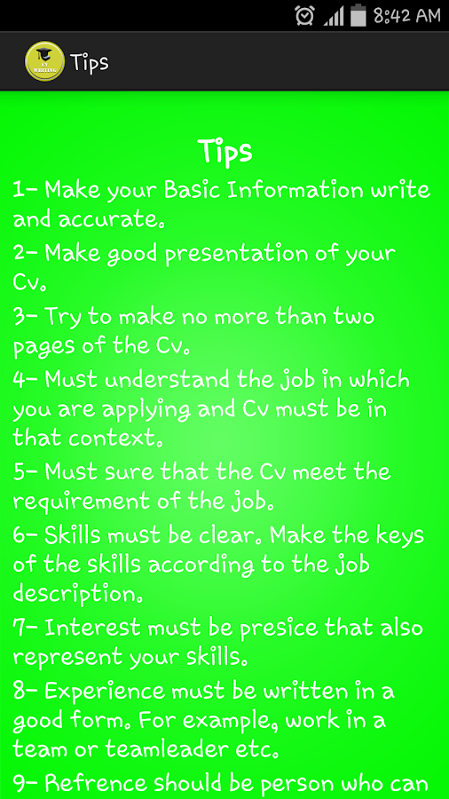 cv writing android apps on play