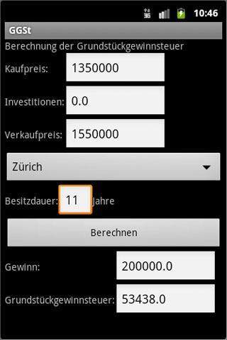 Grundstückgewinnsteuer- screenshot