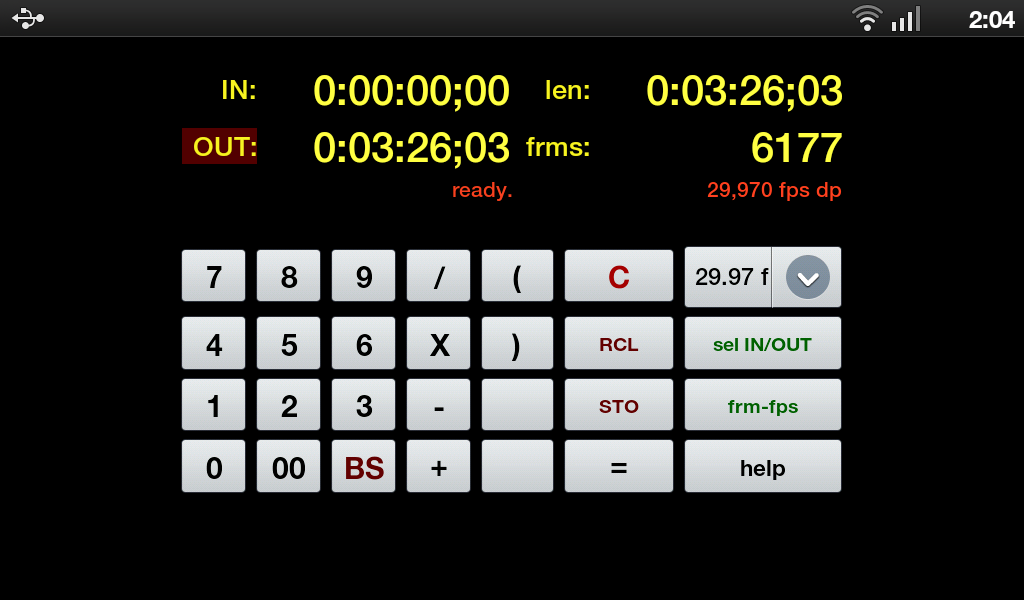 TimeCode Calculator - screenshot