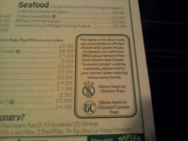 The awesome menu clearly states what is gluten free and not!