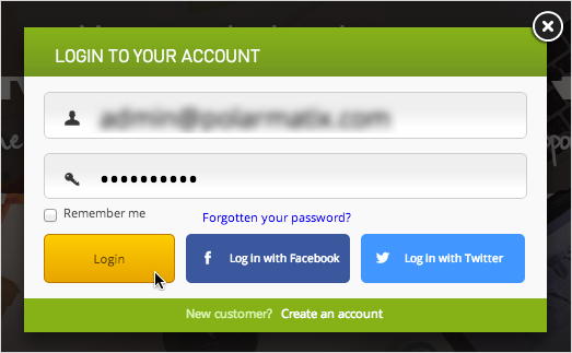 Account login credentials and button