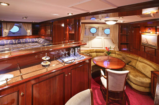 Royal Clipper offers guests cabins that feature a spacious living area and mini-bar.