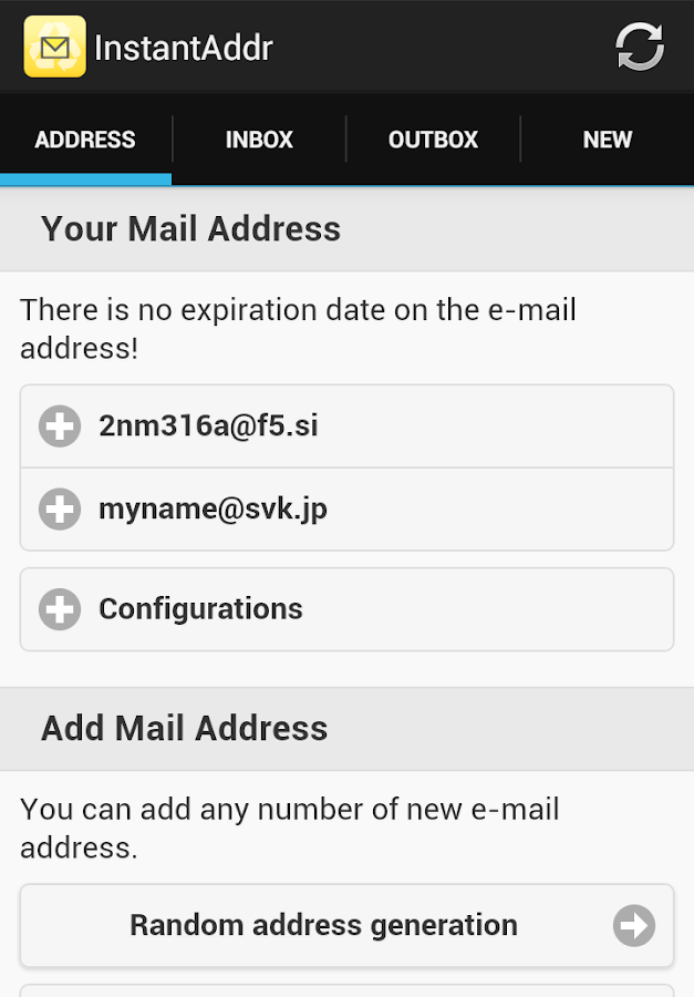 Instant Email Address- screenshot