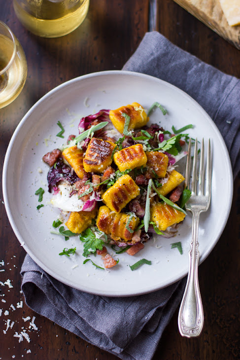 Pumpkin Ricotta Gnocchi with Pancetta and Seared Radicchio