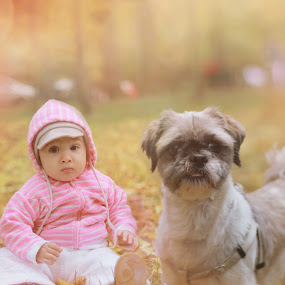 Caught in action by Remus Lungu - Babies & Children Children Candids ( love, candids, children, baby, dog, friend )
