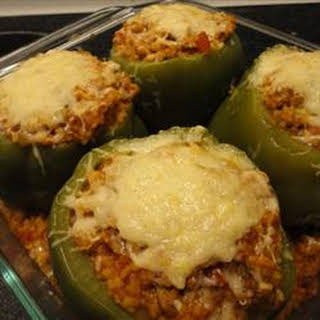 Green Bell Peppers stuffed with Tomato Lentil Couscous.
