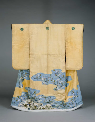 Furisode(Garment with Long Sleeves), Thistle and chrysanthemums design on light orange plain silk