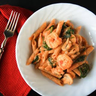 Penne Rosa with Shrimp.