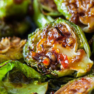 Roasted Brussels Sprouts with Sweet Chili Sauce.