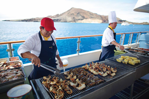 Celebrity_Xpedition_grill - Chefs on board Celebrity Xpedition will grill up fresh seafood and other lunch fare during your cruise.