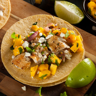Baked Fish Tacos With Mango Salsa.