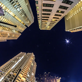 Night sky between towers... by Viorel Stanciu - Buildings & Architecture Office Buildings & Hotels ( , city at night, street at night, park at night, nightlife, night life, nighttime in the city )