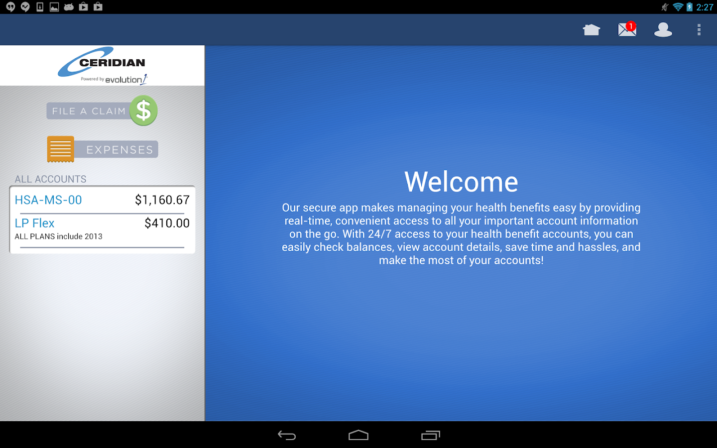 Ceridian Benefits Mobile- screenshot