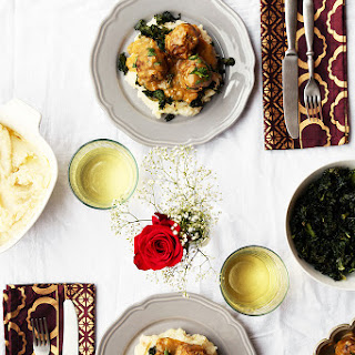 Braised Meatballs, Roasted Garlic Mashed Potatoes & Roasted Kale.