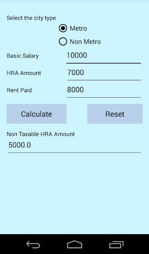 Tax HRA Calculator India