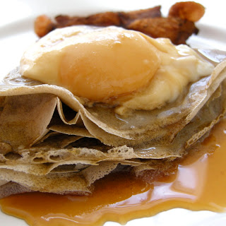 Maple Poached Eggs On Buckwheat Crepes.