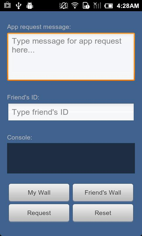 Facebook API Demo - screenshot