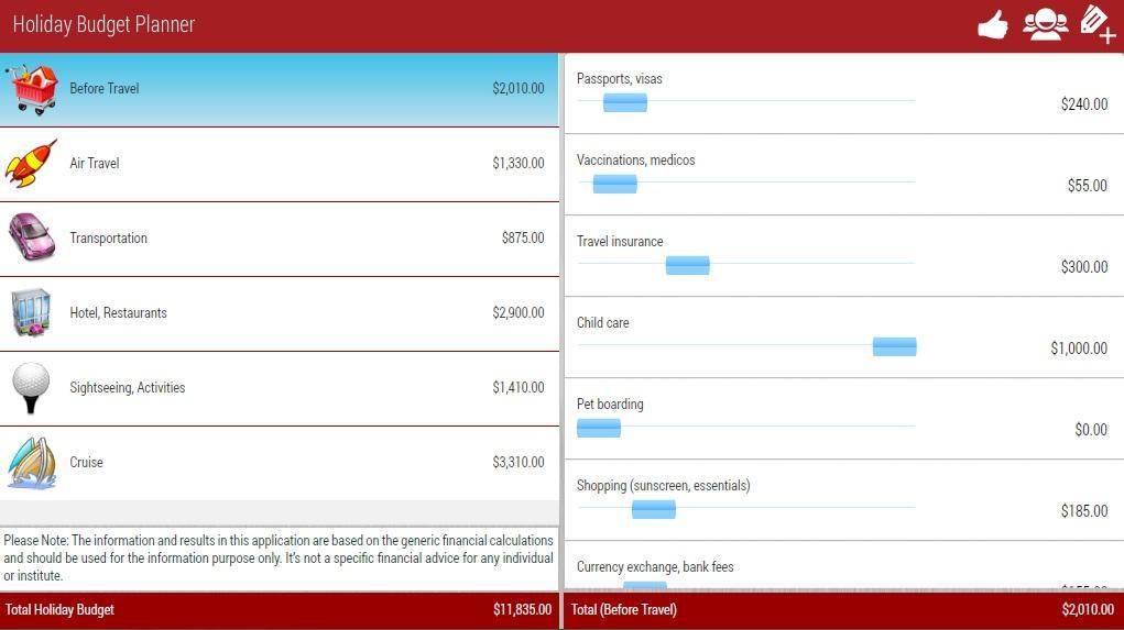 Holiday Planner Lite - screenshot