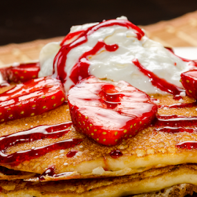 Strawberry, Ice Cream and Pancakes by Toronto-Images .Com - Food & Drink Candy & Dessert ( dish, cake, garnished, fruit, breakfast, beautiful, crepes, plate, round, french, restaurant, homemade, baked, pancake, fresh, garnish, ice cream, cooking, pile, lunch, closeup, gourmet, dessert, meal )