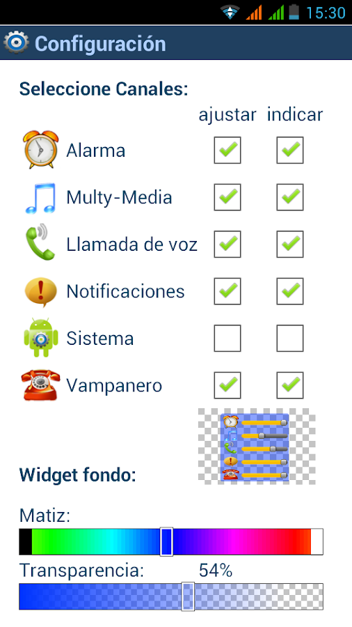 Volumen Control Widget: captura de pantalla