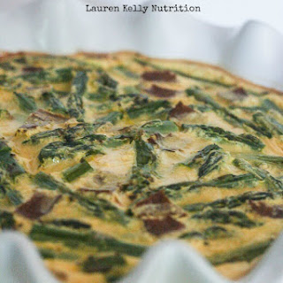 Asparagus Bacon Feta Crustless Quiche.