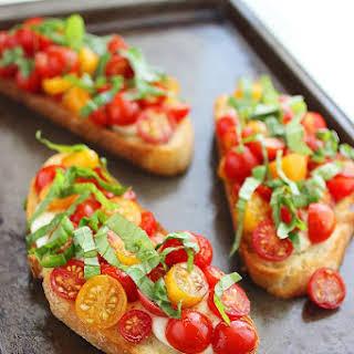 Warm Tomato and Mozzarella Bruschetta.