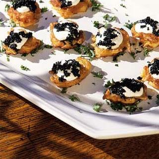 Potato Blini with Sour Cream and Caviar.
