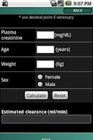 Screenshot of IRCALC - Drug dosage in RF