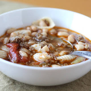 Pasta Soup with White Beans and Sausage.