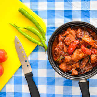 Tender Pork with tomato and shrimp past sauce.