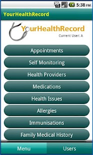 YourHealthRecord- screenshot thumbnail