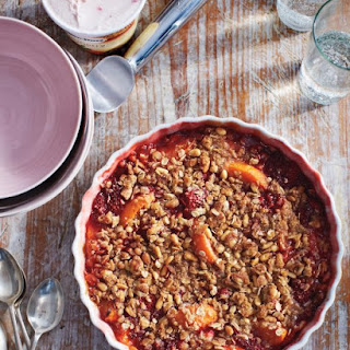 Strawberry and Apricot Crisp with Pine-Nut Crumble.