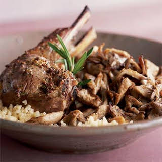 Spring Lamb Chops on Oyster Mushrooms.