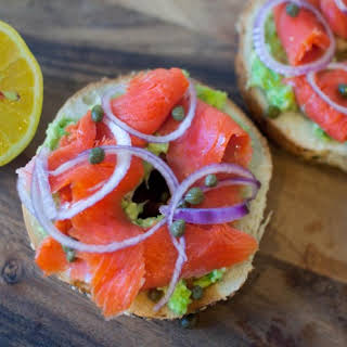 Bagels with Lox and Avocado Spread.