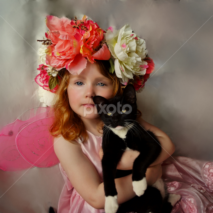 The Pet Fairy by Cheryl Korotky - Babies & Children Child Portraits ( cute portraits, child, model, girls & cats, a heartbeat in time photography, pets, amazing faces, beautiful chidren, nevaeh, children & pets, kittens, black and white cats, #GARYFONGPETS, #SHOWUSYOURPETS,  )