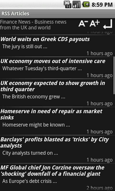 RSS Offline Reader- screenshot