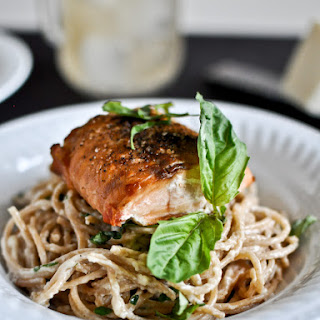 30 Minute Crispy Salmon with Creamy Basil Noodles.